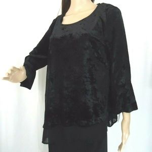 NY Collection Black Velvet and Organza Top